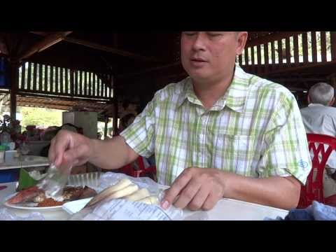 Laos local food หน่อขม แอบปลา ตับย่าง
