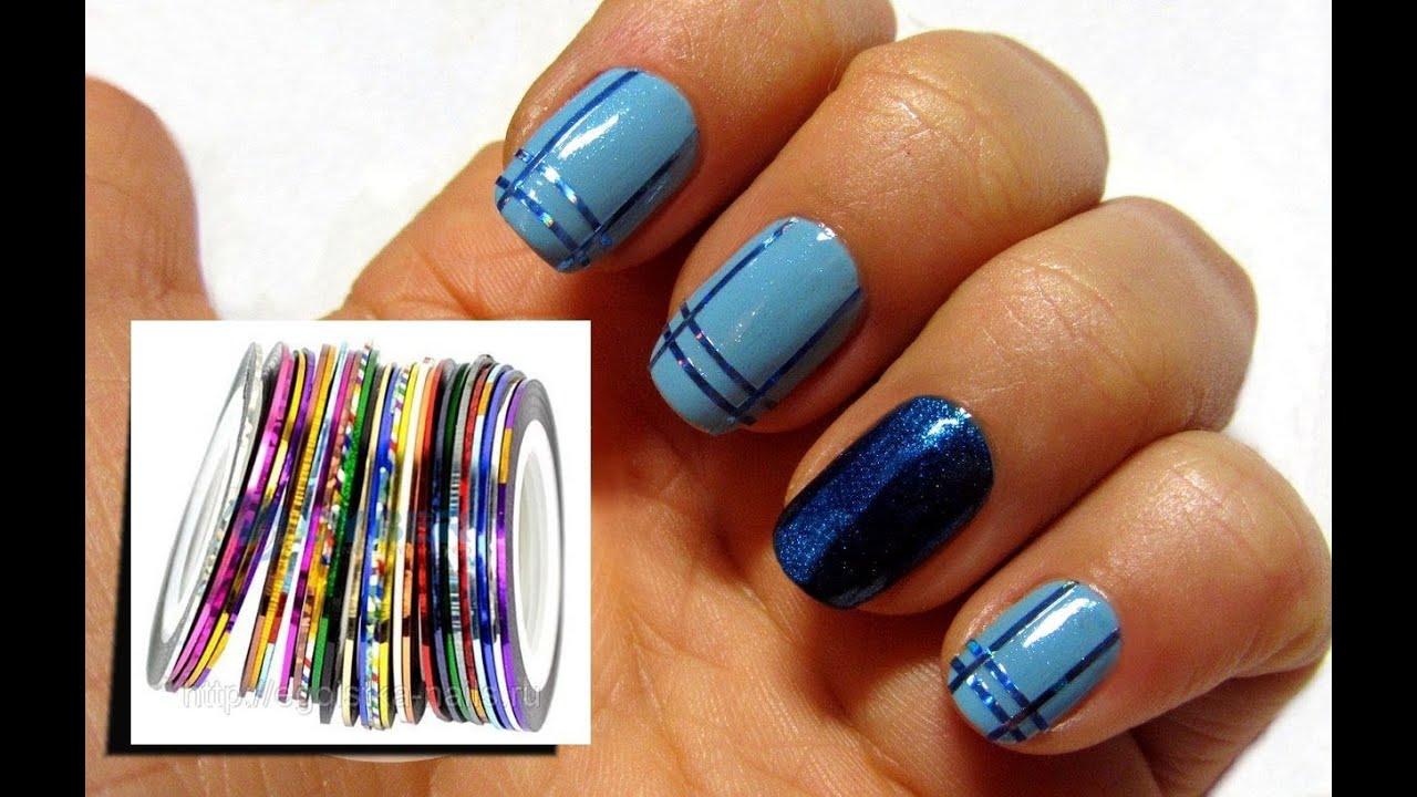 дизайн ногтей с помощью скотча: