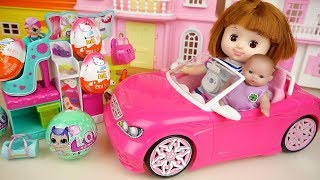 Baby doll car and Shoes store surprise eggs toys baby Doli play