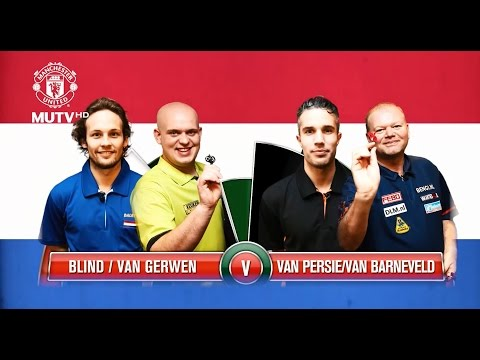 Robin van Persie and Raymond van Barneveld take on Daley Blind and Michael van Gerwen in a special Double-Dutch darts challenge at Manchester United's training complex! (Full credit: MUTV)...