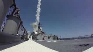 SM-2 Launch on USS Arleigh Burke (DDG-51) using latest Aegis Baseline 9.C1