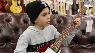 9- Year- Old Jayden Tatasciore playing a Gibson Custom Shop Historic Flying V