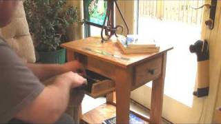 Handmade End Table / Nightstand with Secret Hidden Compartment for Handgun, Pistol, Revolver