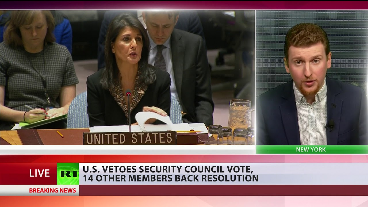 US vetoes Security Council vote, 14 other members back resolution