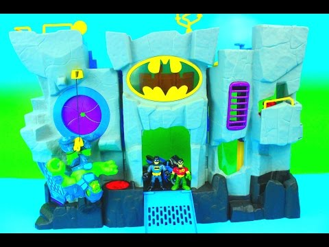 Imaginext Bat Cave Batman & Robin fight the Joker & Penguin Just4fun290 Batcave