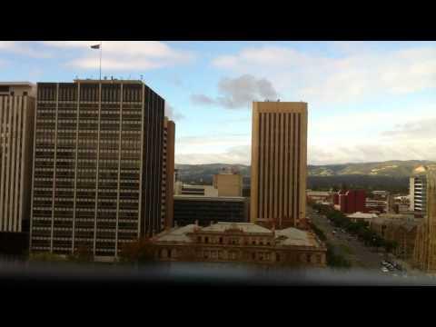Abseiling between buildings in Adelaide CBD