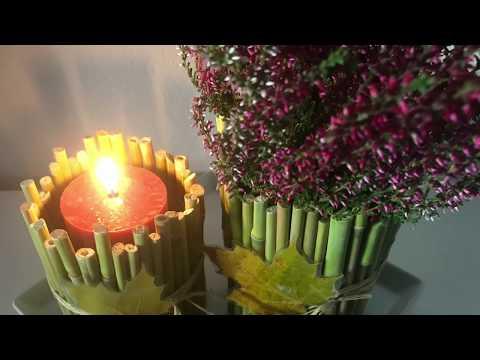 DIY: Herbst- Deko- Idee, Windlicht und Pflanzengefäß mit Natur umschmückt