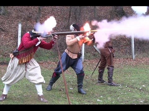 Matchlock and wheellock firing according to authentic French 17th century regulations