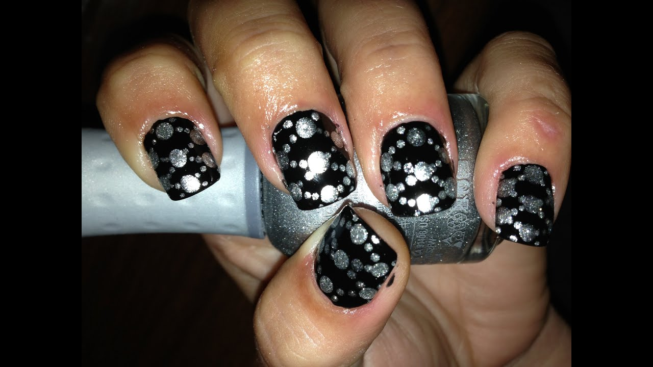 Nail Art Design With Diamond: Black diamond glitter nail art design ...