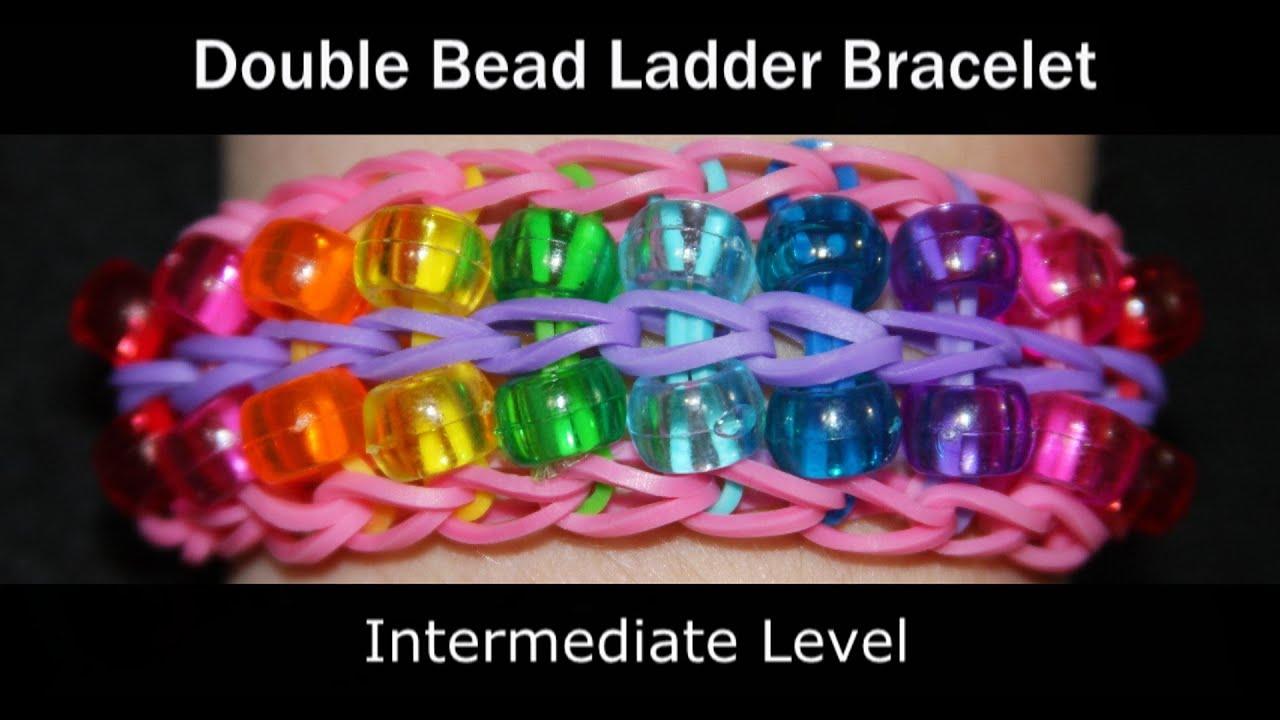 Rainbow Loom® Double Bead Ladder Bracelet - YouTube