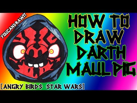 How To Draw Darth Maul Pig from Angry Birds Star Wars ✎ YouCanDrawIt ツ 1080p HD