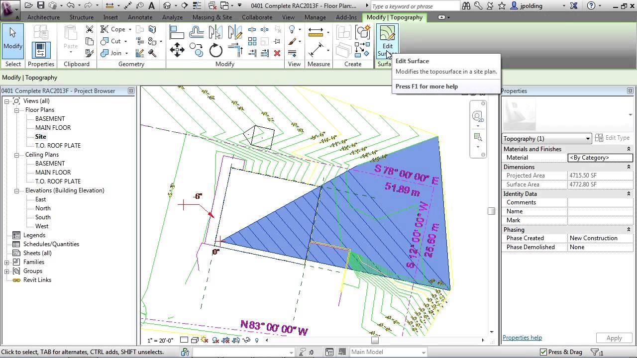 Revit Architecture 2013 Tutorial | Create Toposurface