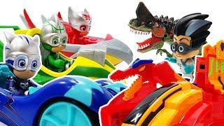 PJ Masks! Romeo, the villain dinosaur is picking on his dinosaur friends! Protect the Dinosaurs!