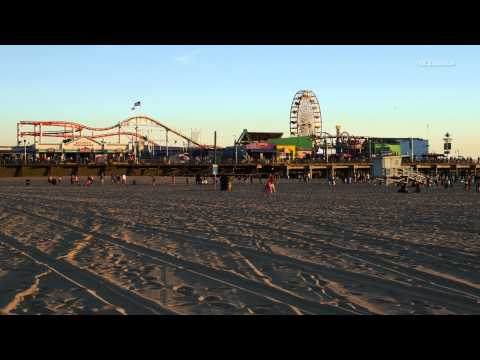 Santa Monica Beach as the sun sets in 4K resolution.