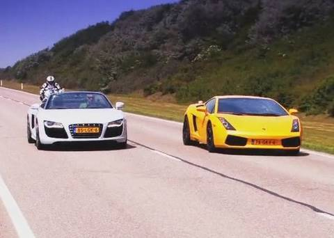 Audi R8 V10 Spyder vs Lamborghini Gallardo vs BMW S1000RR