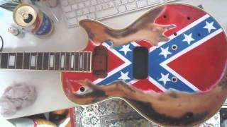 DIY rebel guitar ザックワイルドのレベルフラッグのギターの塗装をしよう!