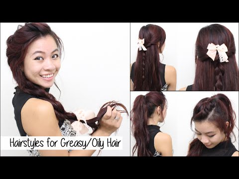 hairstyles for oily greasy hair l quick cute  easy