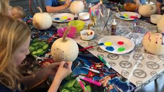 Painting pumpkins with the Fentons and Smedleys