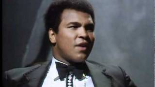 Muhammad Ali doing a live interview with fans
