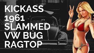 KICKASS 1961 SLAMMED VW BUG RAGTOP VOLKSWAGEN BEETLE RATLOOK HOODRIDE