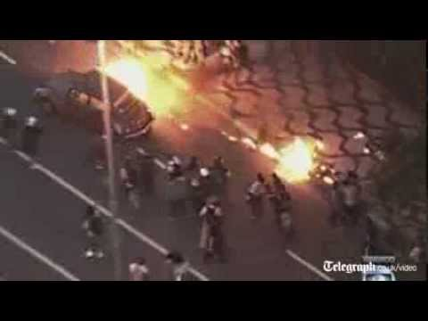 Brazil World Cup protesters set fire to car