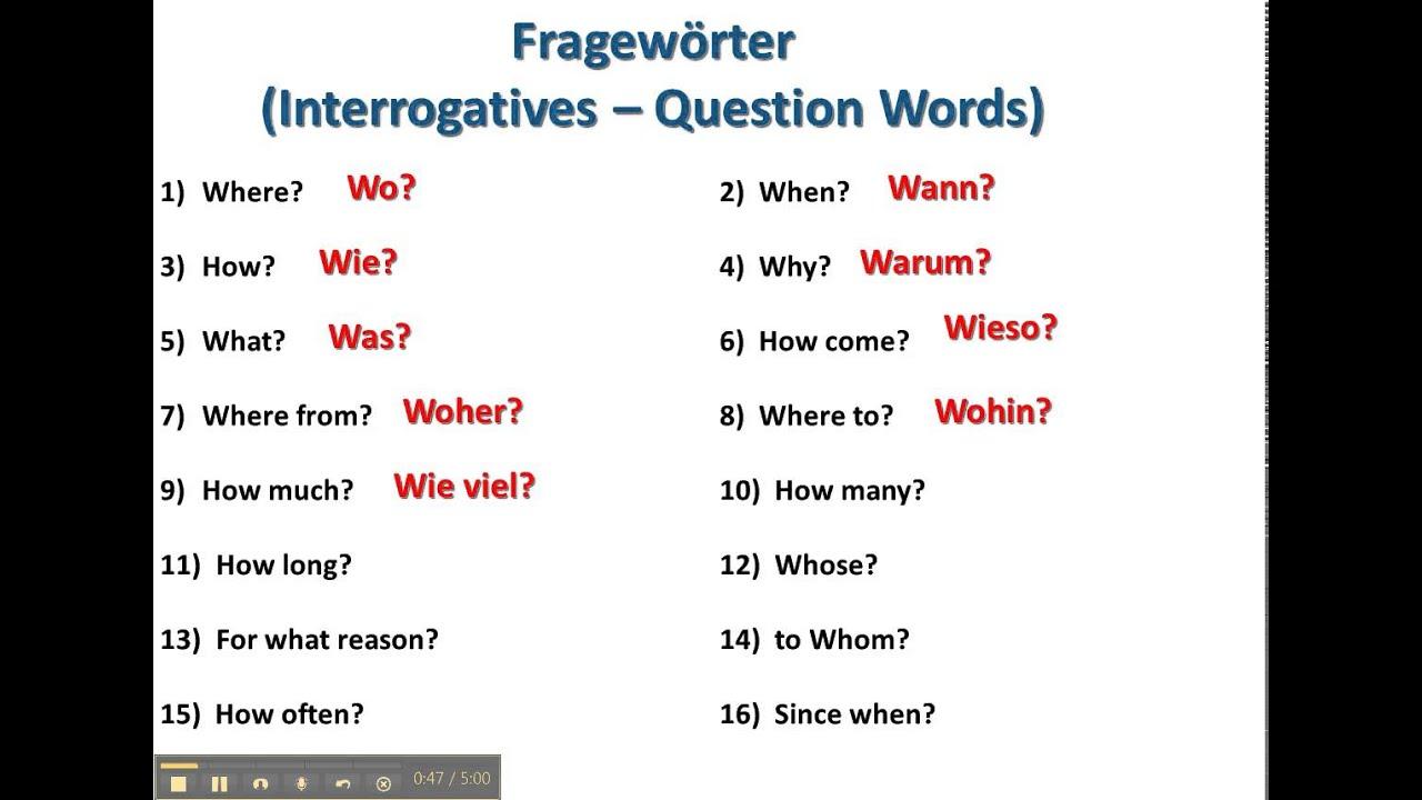 Question Words in German - www.germanforspalding.org - YouTube