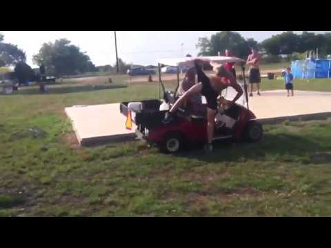 Jumping over a golf cart FAIL!!