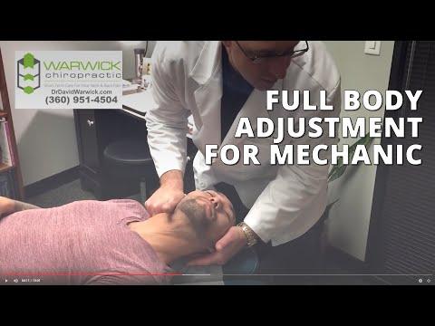 Full Body Adjustment for Mechanic w Dr David Warwick Lacey Olympia WA Chiropractor