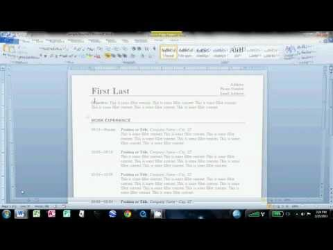 How to Make an Easy Resume in Microsoft Word 2010