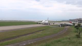 Boeing 747-409(F) Aerotrans Cargo  ER-BAM Takeoff Tzx-LTCG Trabzon airport to Hong Kong Fly..