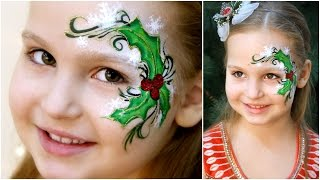 Holly Christmas  - Fast & Easy Face Painting Tutorial