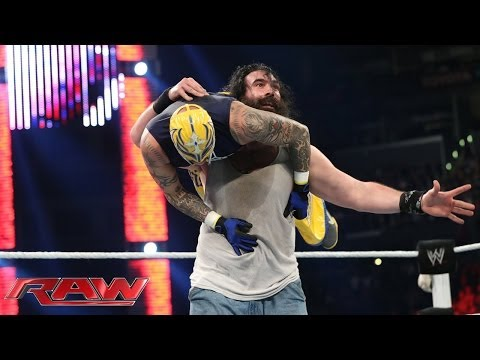 Rey Mysterio, Cody Rhodes & Goldust Vs. The Wyatt Family: Raw, Feb. 10, 2014 video