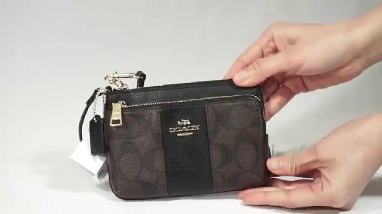 Double Zip Wristlet in Leather Double Zip Wristlet by