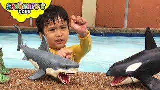 Playing with Shark Toys for Kids - Animal Planet Mega Shark & Whale Set Swimming Children