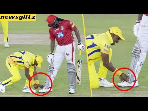Bravo Tied Gayle Shoe Laces : CSK Vs KXIP Match Highlights | IPL 2018 | Dhoni