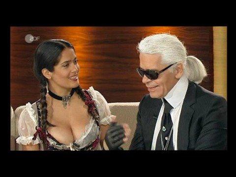 Salma Hayek Flaunts Great Cleavage In Bavarian Dress video