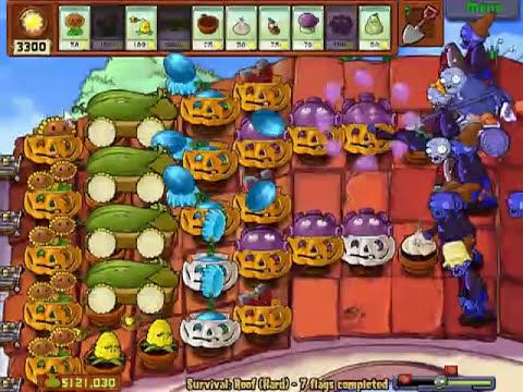 Let's Play Plants Vs Zombies 66 - Supervivencia Dificil: Tejado
