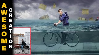 cycling in water photo manipulation ,picsart underwater editing, how to edit image