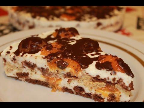 """ТВОРОЖНЫЙ ТОРТ БЕЗ ВЫПЕЧКИ """"МИНУТКА"""" (из печенья). Очень вкусный десерт."""