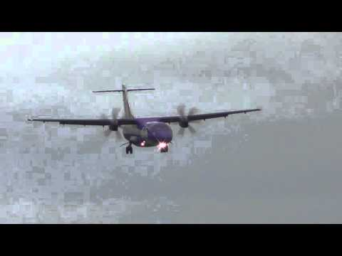 Flybe Stobart air ART72 lands in wind  29Jan16 Stansted Airport London 1034a vid8