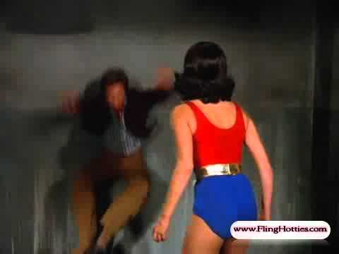 Wonder Girl (Debra Winger) chloroformed & great curvy body in spandex - 720p