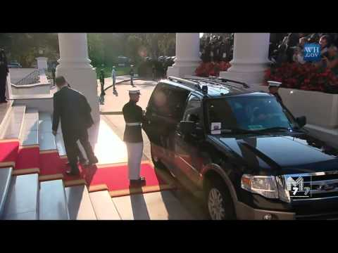 Benin president Yayi Boni arrives at the White House Diner