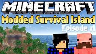 Getting Shelter! [Minecraft Modded Survival Island #1]