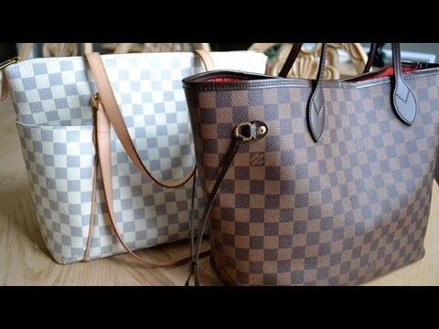 Louis Vuitton Totally Azur MM vs Neverfull Damier MM   Handbag Comparison