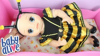 BABY ALIVE BEBÊ LAURINHA USANDO ROUPA DE ABELHINHA E ANTENINHAS