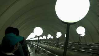 Russia Longest Escalator at Park Pebody Metro Station Moscow