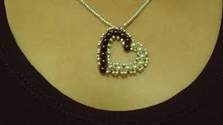 How to make small heart pendant with pearls/ DIY Valentine
