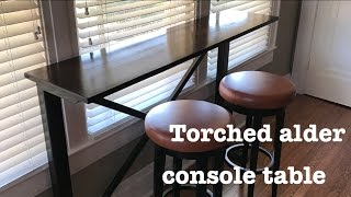 Torched alder console table // How-To