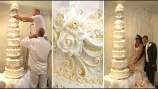 HOW TO DECORATE A GIANT MASSIVE WEDDING CAKE - ROYAL ICING CAKE DECORATING TUTORIAL FREE CLASSES