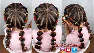 Penteado Infantil melancia com Maria Chiquinha e tranças / Hairstyle for little girl